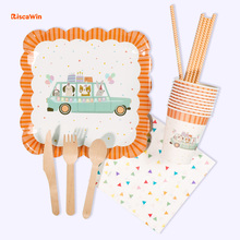 RiscaWin Animal Car Paper Plates Cups Straws Disposable Tableware Birthday Party Decoration Kids Cake Dishes For Baby Shower Boy