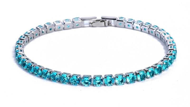 Luxury 4mm Cubic Zirconia Tennis Bracelets Iced Out Chain Crystal Wedding Bracelet For Women Men Gold Silver Bracelet Jewelry 14