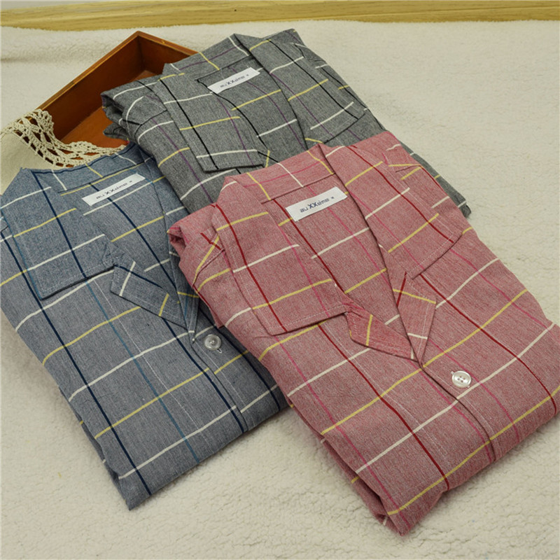 New Pajamas For Men Summer Short Sleeve Cotton Woven Sleepwear Men Pajamas Set Trousers