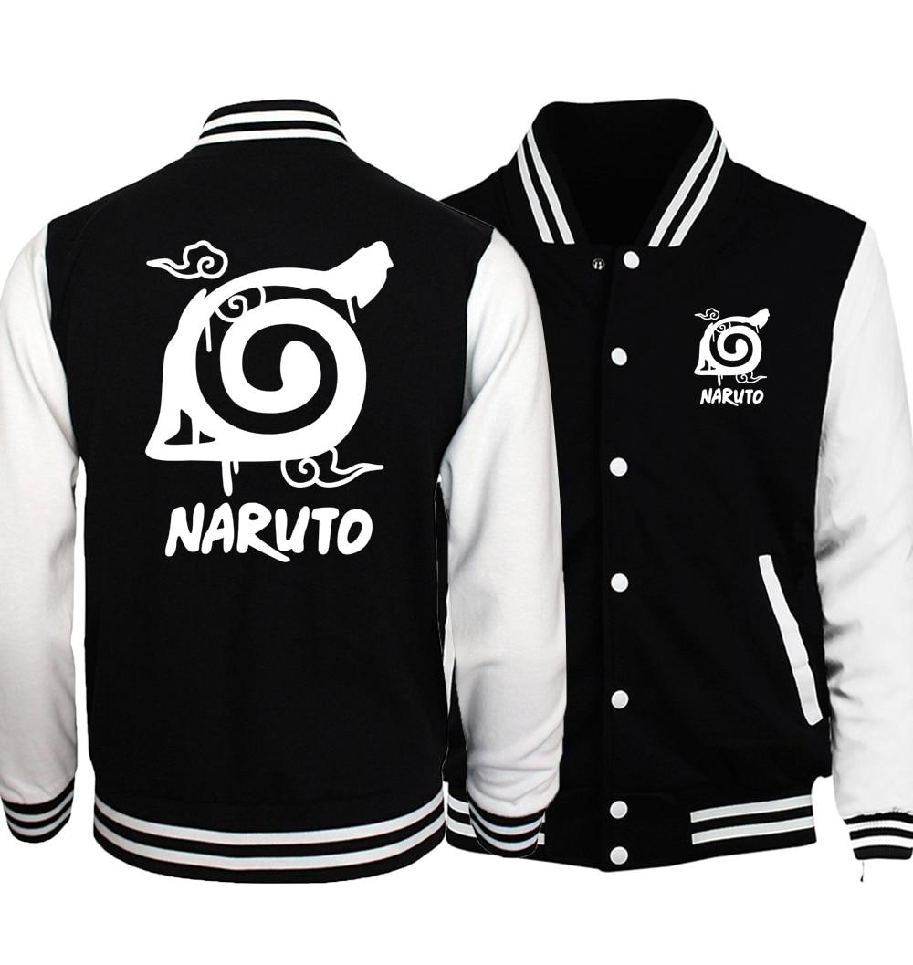 2019 Hot Sale Anime Uzumaki Naruto Sweatshirts Konoha Printed Unisex Baseball Jackets Spring Autumn Tracksuits Men Women Hoodies