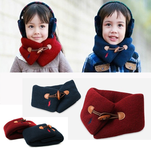 2018 New Autumn Winter Cotton Baby Scarf Neck Wrap Children Girl Boy Button Thick Scarves Kids Solid Color Warm Scarf