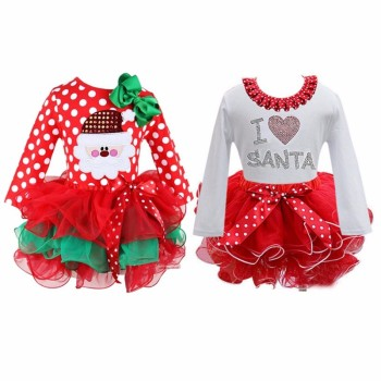 Lovely Girls Dress Christmas Costumes Long Sleeve Princess Dresses Kids Party Clothing  winter Princess dresses high quality
