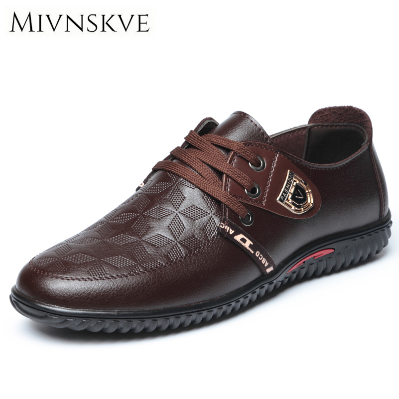 MIVNSKVE 2017 Men's Leather Shoes Lace up England Style High Quality Fashion Men Casual Shoes with Flats Breathable Boat Shoe high quality men casual shoes fashion lace up air mesh shoe men s 2017 autumn design breathable lightweight walking shoes e62