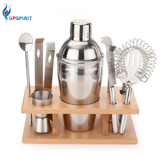 Upspirit Stainless Steel 8 Pcs Shaker Mixer Tail Set With Wood Stand Bartender Supplies Kit Drink