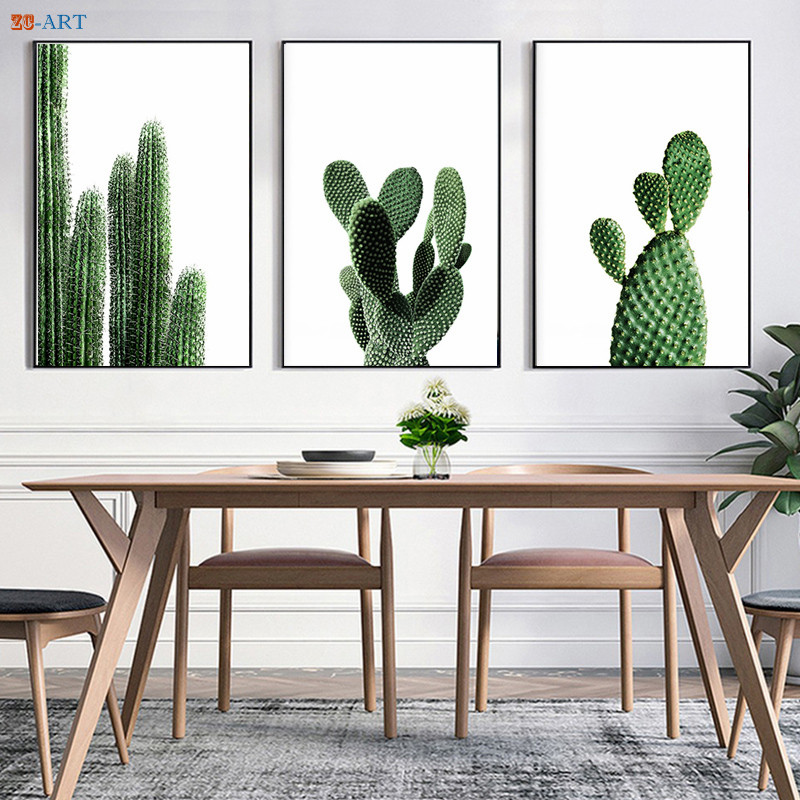 Dining Room Art Prints: Nordic Minimalist Cactus Canvas Painting Green Plant