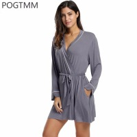 Winter Bathrobes Women S Home Warm Kimono Robe Femme Long Sleeve Lace Up Belted Sleepwear Short