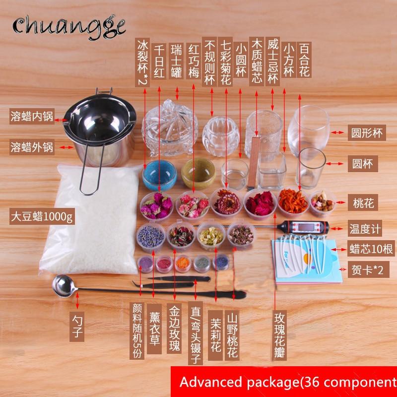 CHUANGGE bougie bricolage paquet ensemble cire de soja auto-fait bougie Kits paquet manuel outils de bricolage matériel aromathérapie Silicone moule