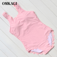 OMKAGI Brand New Solid Pink Red Wave Lace One Piece Swimsuit Women Monokini Swimwear Summer Beach