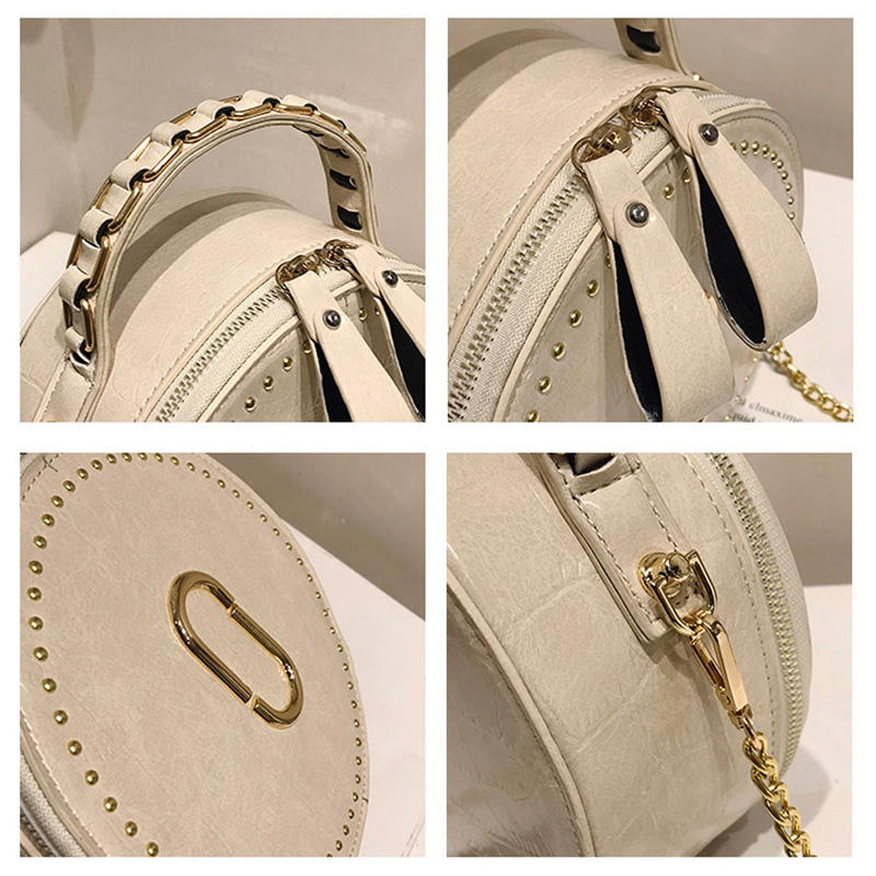 Image 5 - Beibaobao Circular Fashion Bags PU Leather Messenger Women Bags Rivet Crossbody Packages Female Shoulder Bags For Girls-in Top-Handle Bags from Luggage & Bags