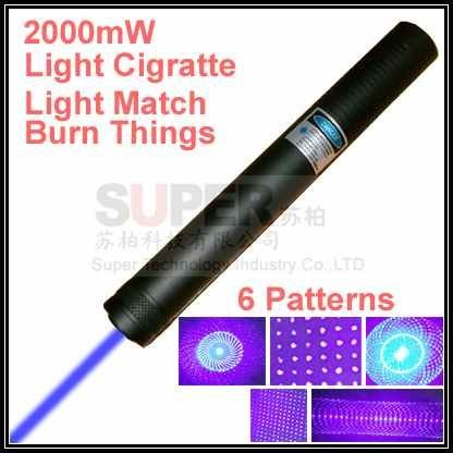 6 patterns Can Light cigarette and Burn Match,2000mW focus blue beam Laser pointer pen,Blue laser pen light things funtion