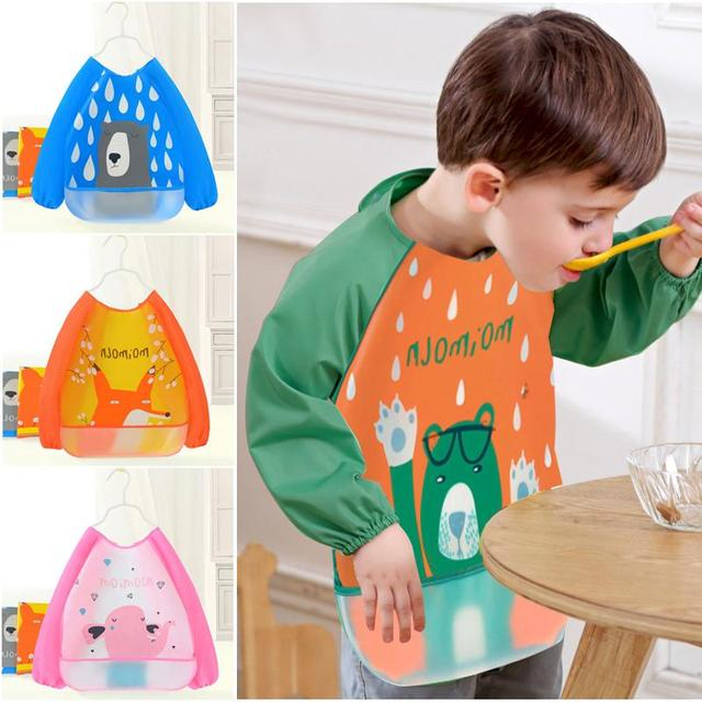 Baby Eating Bib Cartoon Waterproof Stain Resistant Cape EVA Children Drawing Smock saliva towel