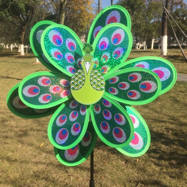 Peacock Windmill Garden Ornaments Multicolor Wind Spinner Whirligig Garden  Windmill For Children Gift Garden Home Decor