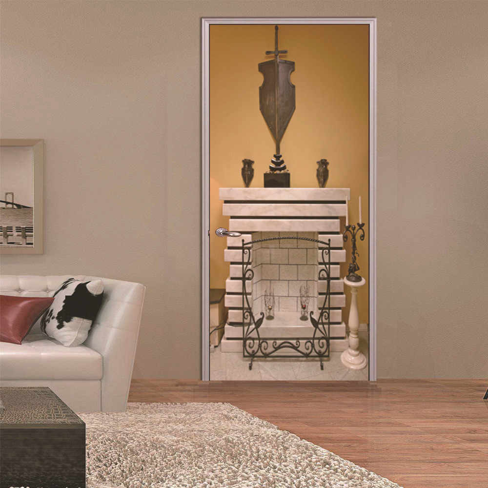 Limited Diy 3d 2pcs Door Sticker Mural Art Wallpaper Warm Stone Fireplace Pattern Room Wall Poster Stickers Home Gate Decor