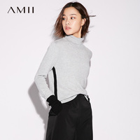 Amii Casual Women Sweater 2017 Hit Color Patchwork Turtleneck Long Sleeve Female Pullovers Sweaters
