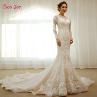 Taoo Zor Ivory Embroidered Lace Voile Mermaid Wedding Dresses 2017 Vintage Appliques Chapel Train Vestidos De Novia Plus Size