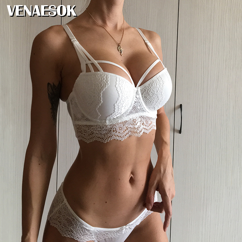 2018 Top Hot Sexy Underwear Push up   Bra     Set   Cotton Deep V Brassiere White 3/4 Cup Green Lace   Bras   Women Lingerie   Set   Embroidery