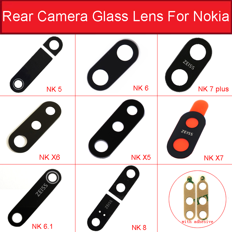 Rear Camera Glass Lens For Nokia 5 6 6.1 7 Plus 8 X5 X6 X7 X71 Main Back Camera Lens Glass With Adhesive Sticker Repair Parts