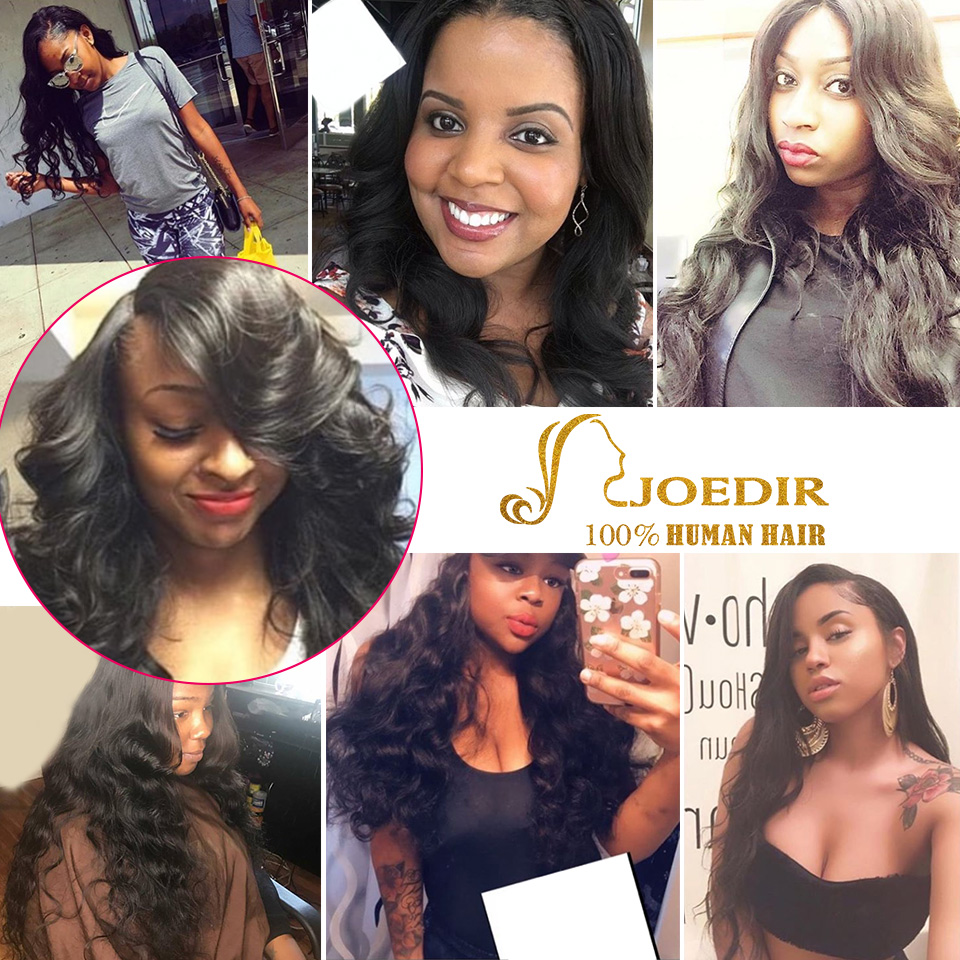 Joedir Indian Human Hair Bundles Med Closure Non Remy Body Wave 3 - Skønhed forsyning - Foto 6