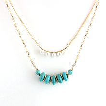 Szelam Gold Chain Turquoise Choker Necklace Women Multilayer Natural Stone Necklaces & Pendants Bohemian Jewelry Sne160070
