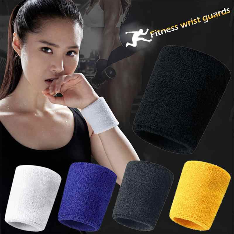 HOT 2PCs Wristbands Sport Sweatband Hand Band Sweat Wrist Support Brace Wraps Guards For Gym Volleyball Basketball