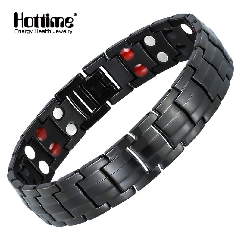 Hottime Double Row Black Gun Plated Menn Sundhed Magnetisk Armbånd Titanium Steel Armbånd For Man Magnet Energi Armbånd 10142