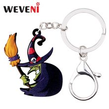 WEVENI Acrylic Halloween Old Witch Key Chain Pendant Ring Anime Holder Jewelry For Women Girls Grandmother Gift Wholesale(China)