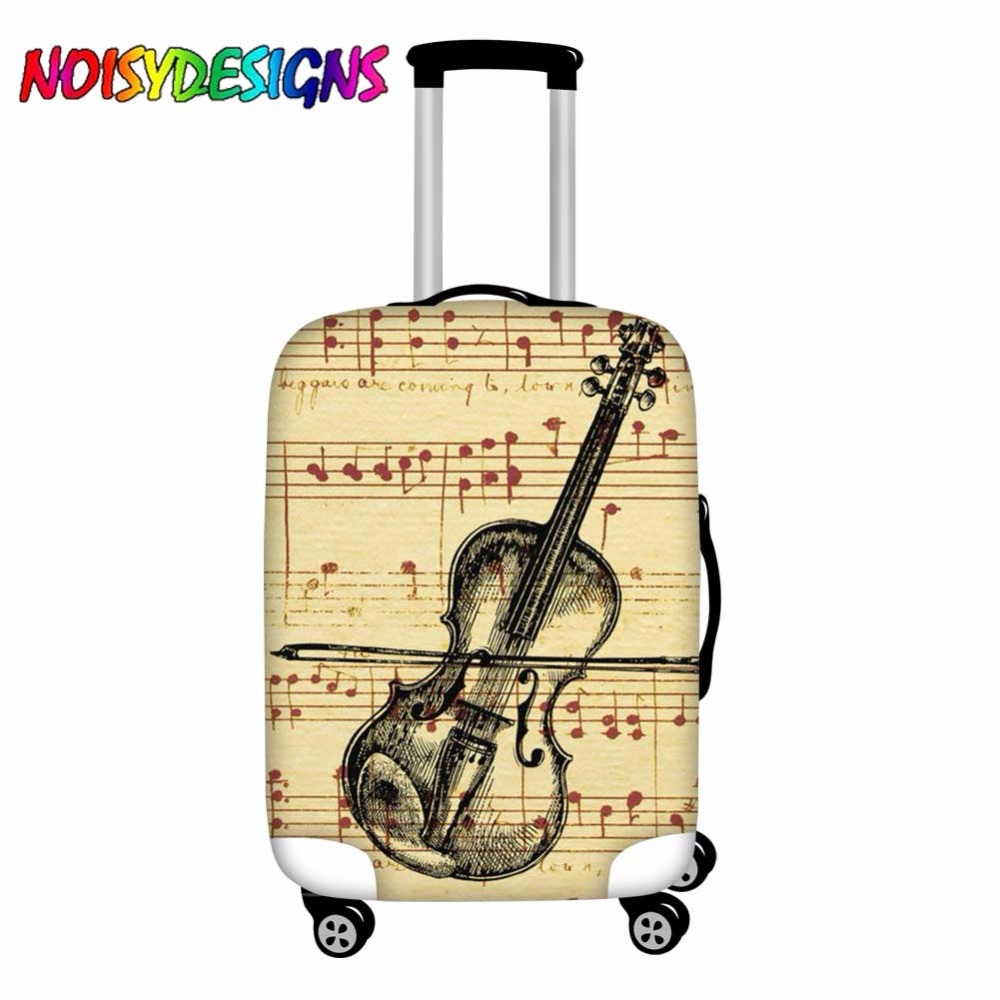 NOISYDESIGNS Luggage Cover Violin Sketch Luggage Protector Suitcase Music Note Protective Covers For Trolley Case Trunk Case