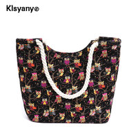 Klsyanyo Women Large Capacity Owl Printed Handbags Female Shopping Bag Shoulder Tote Bag Summer Beach Pack