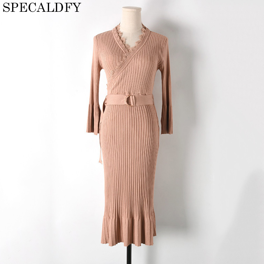 Sweater Dress Bodycon Ladies Office Elegant Sexy Dress Long V-Neck Women Knitted Sweater Dresses Robe Runway Fashion 2018