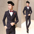 ( jacket + vest + Pants ) new 2017 men's fashion boutique grid wedding dress suits / Male Grid slim leisure business suit Blazer