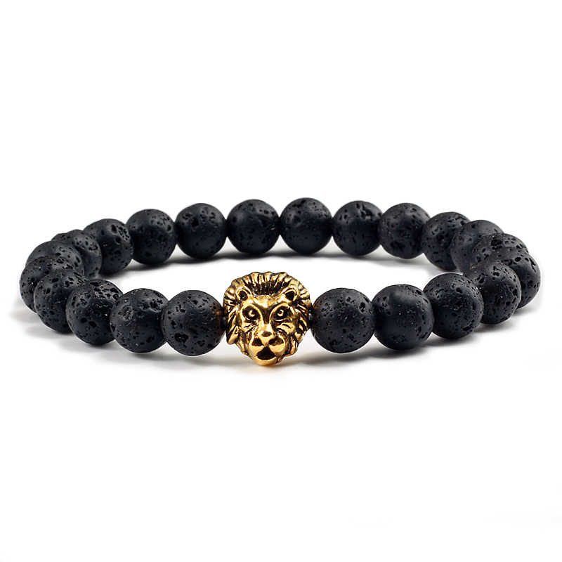 Fashion Personality Animal Natural Stone Volcanic Lava Bracelets Silver Gold Lion Head Beaded Bangles Charming Men Jewelry Gifts
