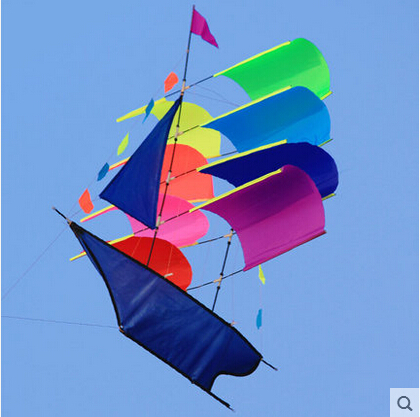 Free Shipping Outdoor Fun Sports 3D Stereo Sailboat Kite /Sailing Kites With Handle And Line Good Flying цена