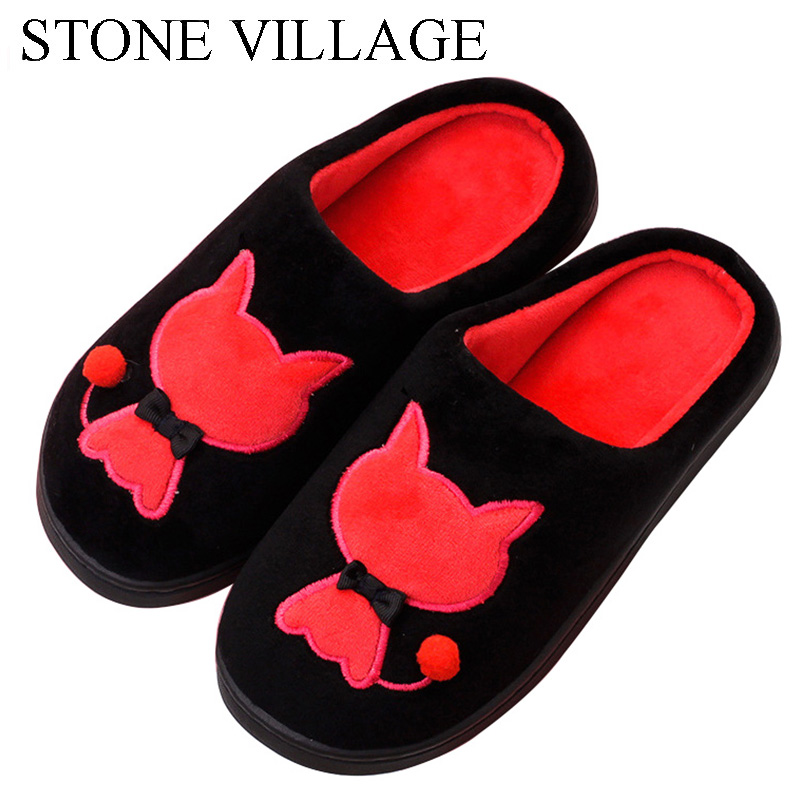 STONE VILLAGE High Quality Winter Warm Home Slippers Women Ladies Cute Cartoon Cat Coral Velvet Indoor Women Slippers Shoes high quality new autumn winter velvet ladies slippers women indoor rubber sole waterproof skid warm shoes woman zapatillas emoji