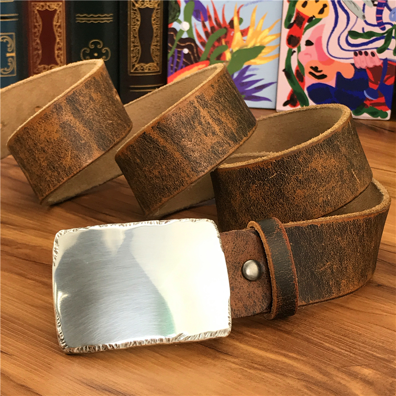 TOP Mirror Metal Belt Buckle Men Belt Leather Genuine Men Belt Ceinture Homme Jeans Leather Belt