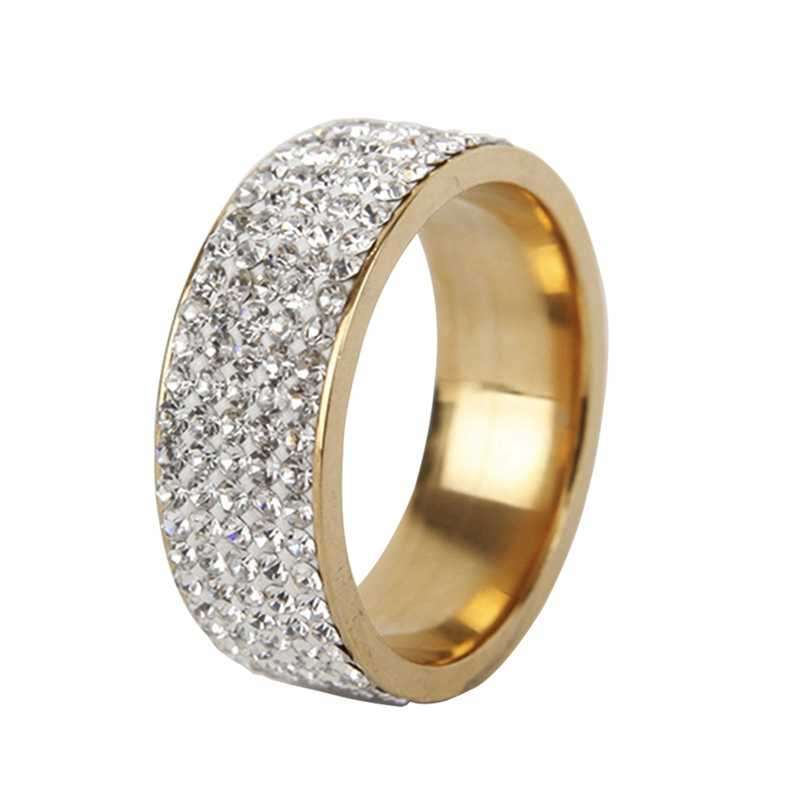2017 Circle Ring Cz Finger Rings Gold /White Color With Cubic Zirconia Wide Fashion Jewelry Wholesale Ring