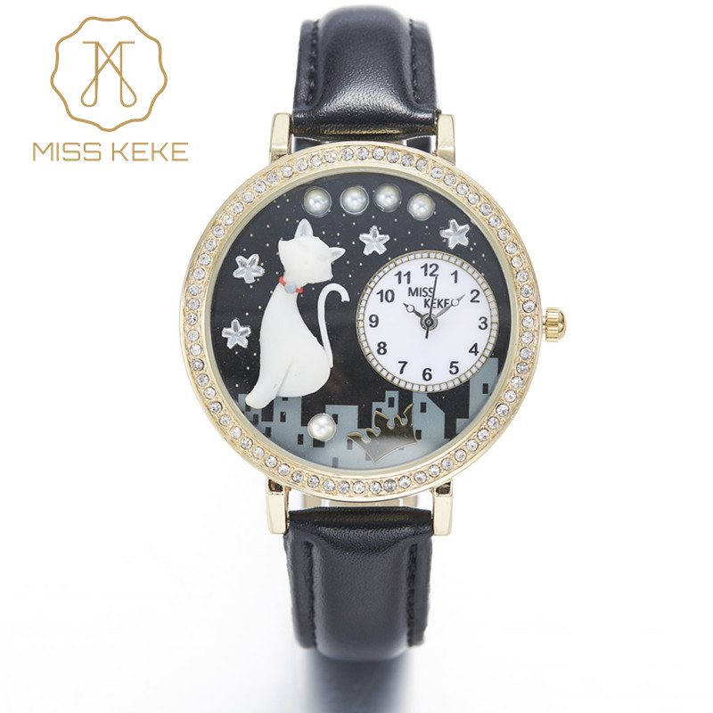 Miss Keke Clay Cute Cat Star Golden Night Rhinestone horloge Relogio Feminino dames dames quartz lederen horloges 1012