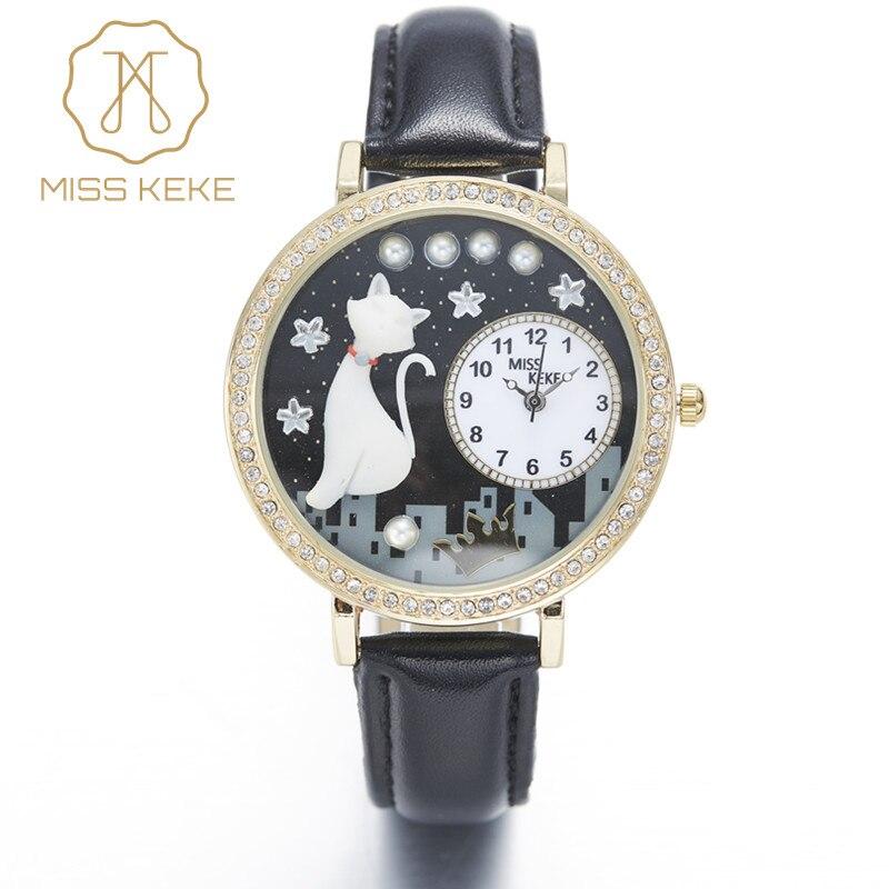 Prix pour Miss keke argile mignon chat golden star nuit strass montre relogio feminino dames femmes quartz en cuir montres 1012