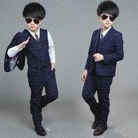 spring Autumn New Child Blazers Suits Boy Clothing sets Coat + Pants + waistcoat 3pcs suit Baby Costumes plaid Kids Garment