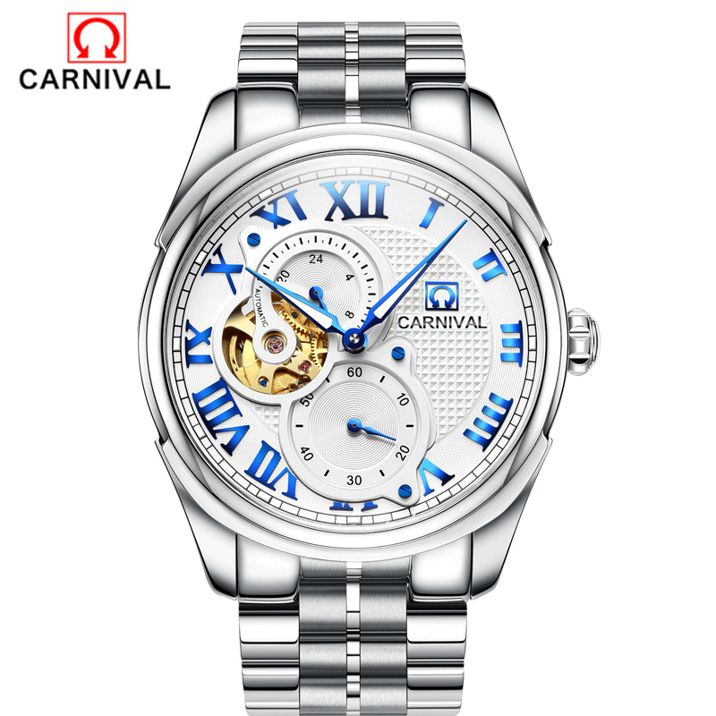 Carnival top brand luxury Automatic machine watch relogio masculine watch men skeleton sapphire Gold stainless steel waterproof
