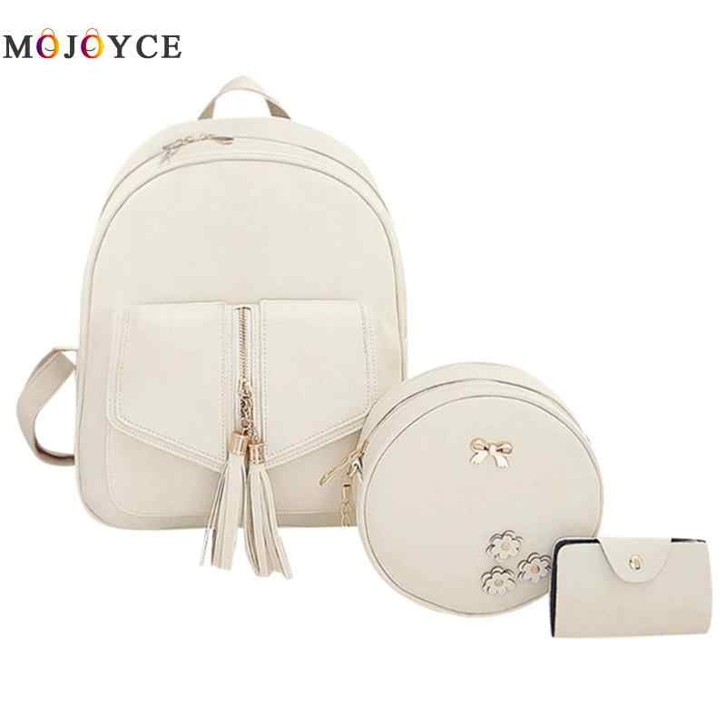 3pcs/Set Tassels Bowknot PU Leather Women Backpacks Cute School Backpacks For Teenage Girls Female mochila