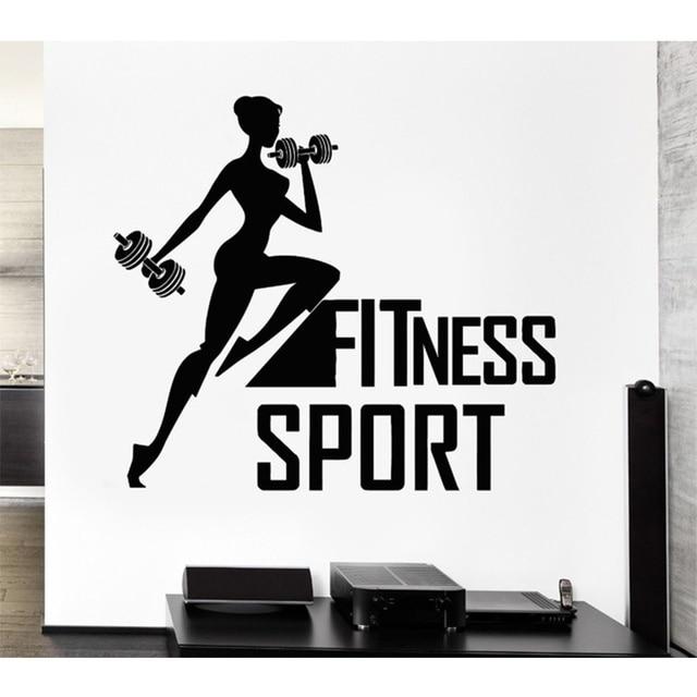 Fitness Sport Vinyl Wall Decal Woman Bodybuilding CrossFit Gym Art Mural Sticker FitnessCentre Decor