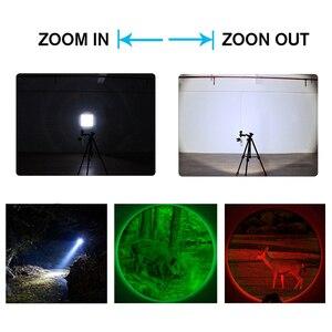 Image 4 - Xm l t6 led 조정 가능한 초점 토치 백색 녹색 빨강 zoomable 초점 5000 루멘 전술 플래쉬 등 사냥 빛 고성능 손전등