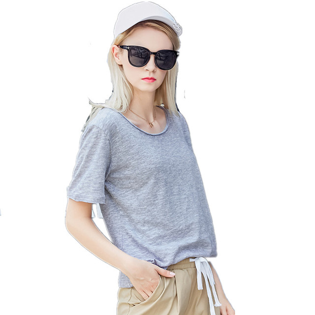 e6e2fcdc New Summer Cotton Linen Top Womens Solid White Black Gray Blue t-shirt  Ladies Short