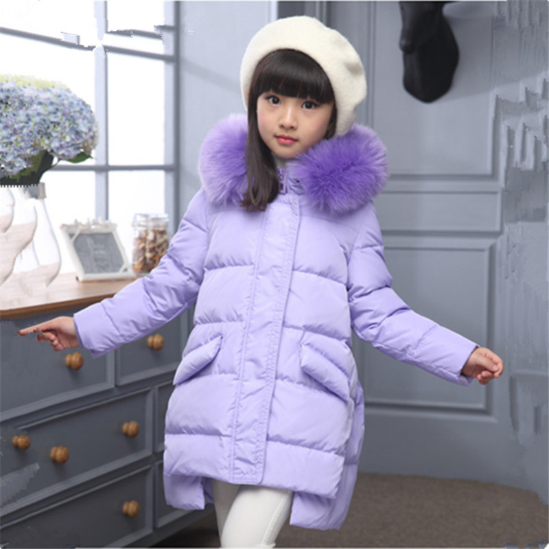 2017 Girls Down Jacket Winter Long Jackets Children Outerwear Coats Fashion Big Collar Solid Pockets Thick Warm Overcoat 120-150 2017 new high quality big fur collar women long winter cotton padded coats female warm jacket large size parka outerwear qh0882