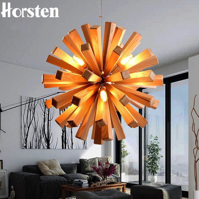 Horsten Kunst Dekoration Holz Lwenzahn Pendelleuchte Kreative Pendelleuchten Wohnzimmer Restaurant Bar Leuchte Leuchten