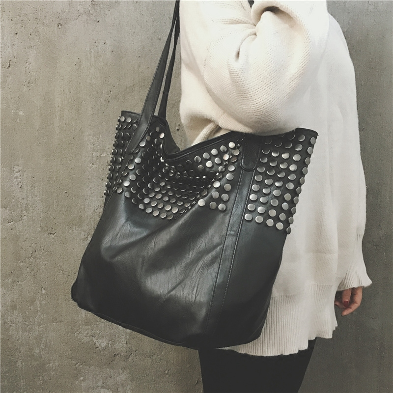 752b85b8a6cd Big Bag Women 2018 Summer Female Shopper Bag Top Handle Tote Studded Large  Capacity Soft Leather Handbag Black One Shoulder Bag-in Top-Handle Bags  from ...
