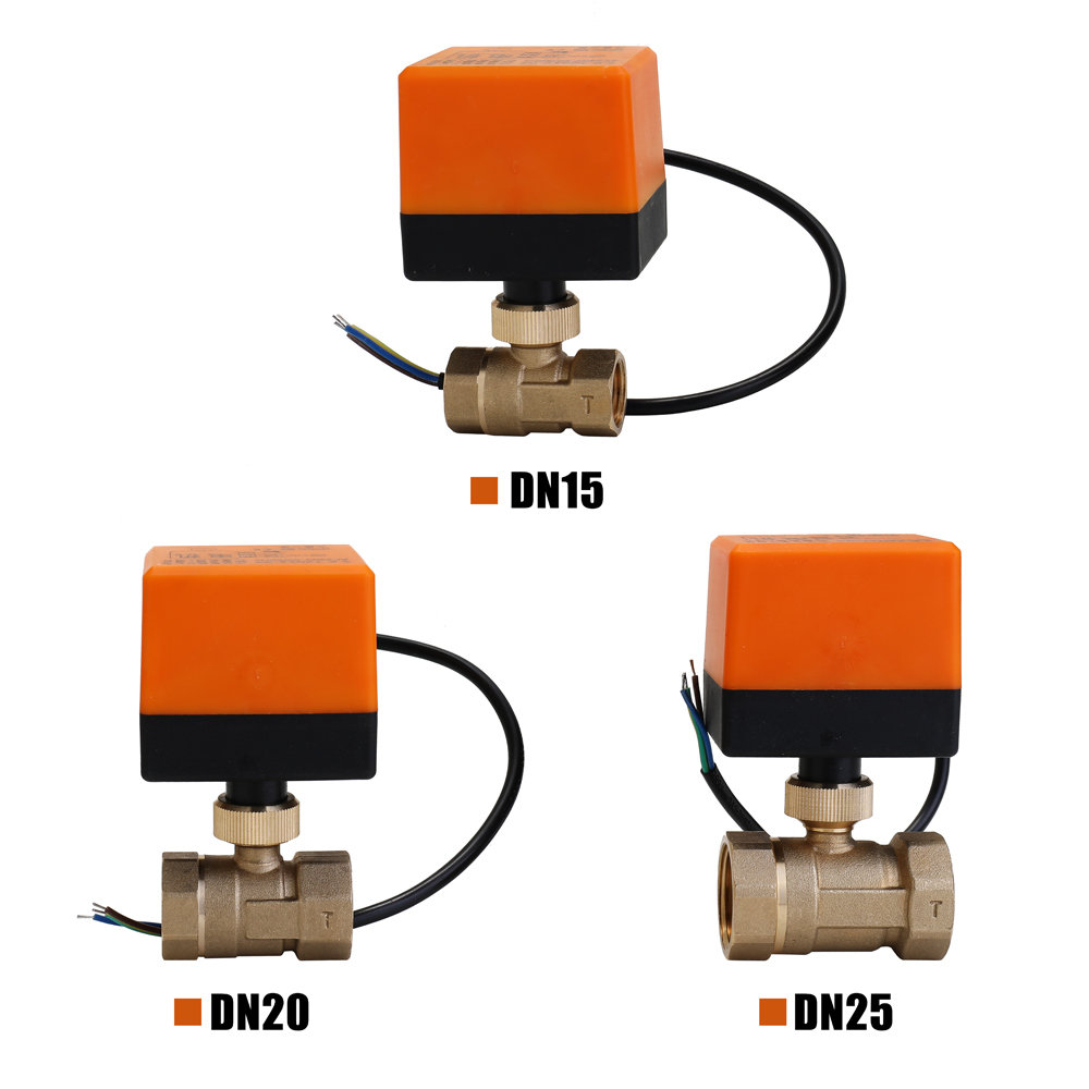 DN15/DN20/DN25 Electric Motorized Brass Ball Valve DN20 AC 220V 2 Way 3-Wire With Actuator Manual Switch Free Ship