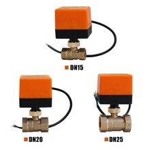 DN15/DN20/DN25 elektrikli motorlu pirinç küresel vana DN20 AC 220V 2 yollu 3 tel aktüatör manuel anahtar ücretsiz gemi