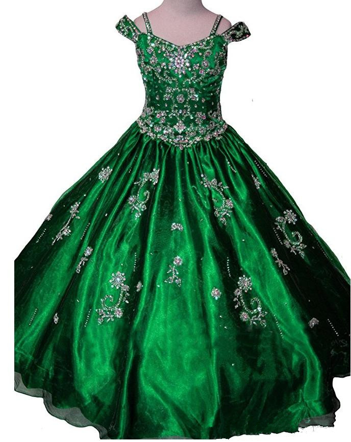Sparkling beaded crystal sequins girls beauty pageant gown flower girl dress Princess Beading Ball Gowns any size hot sale halter beading sequins short homecoming dress