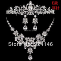 New Arrival Gorgeous crystal flower bridal jewelry sets fashion Silver Necklace sets for Women Dress Wedding hair accessories